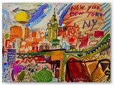 art-moderne-peinture-peintres.merello.colors-of-new-york-54x73-cm-mix-media-on-table-