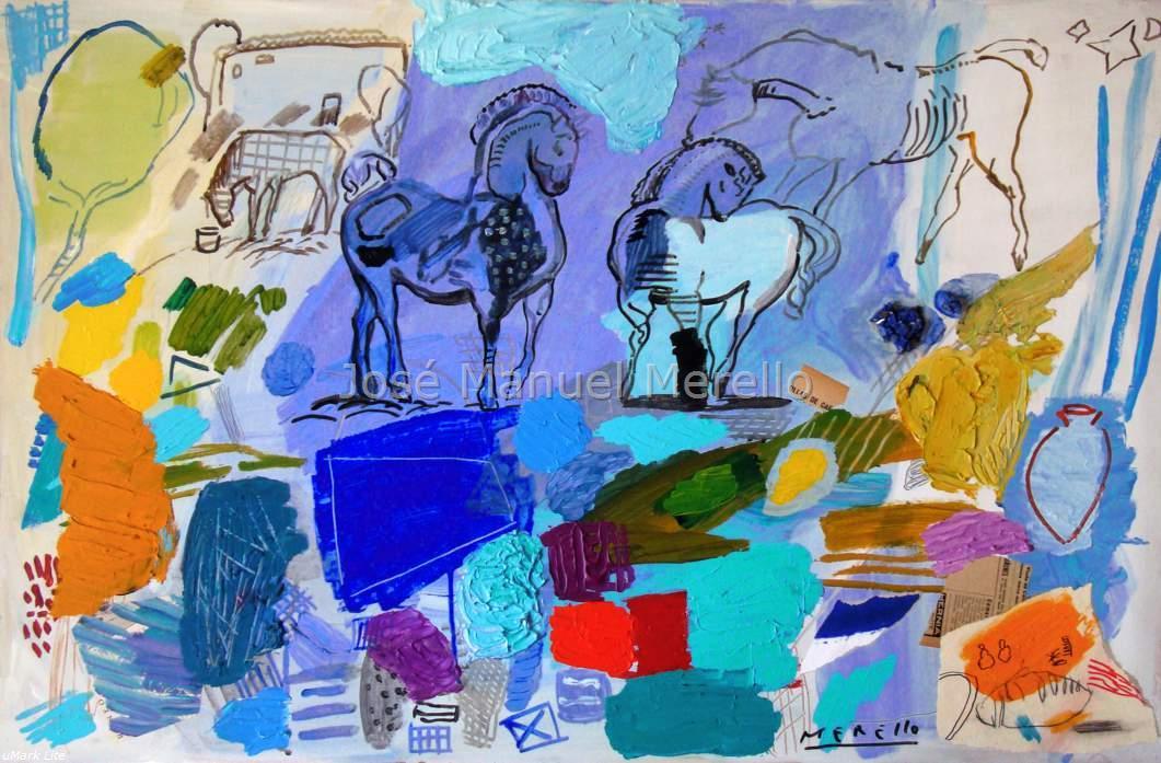 Le cheval et le taureau dans la peinture moderne du le xxi si cle tableaux d 39 art actuel et - Sculptures modernes contemporaines ...